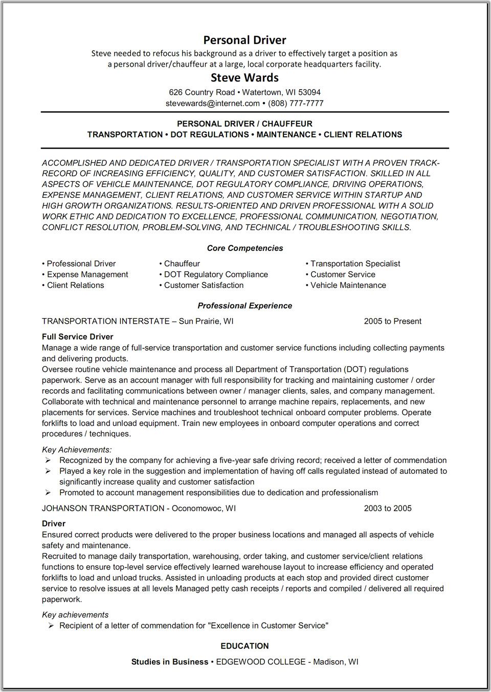 delivery driver resume skills
