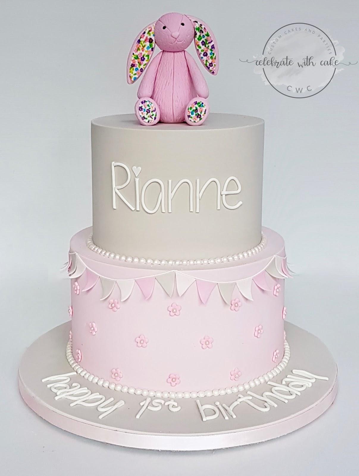 Celebrate With Cake Jellycat Bunny 2 Tiers 1st Birthday