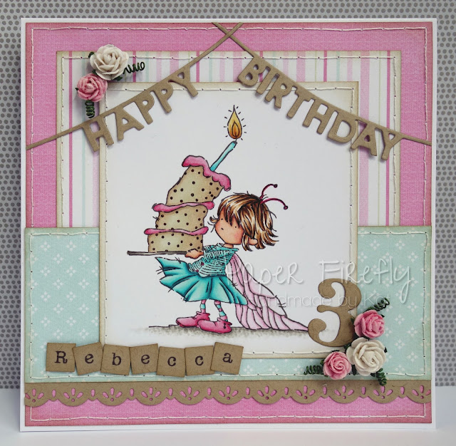 Birthday card featuring girl with cake (image from LOTV)