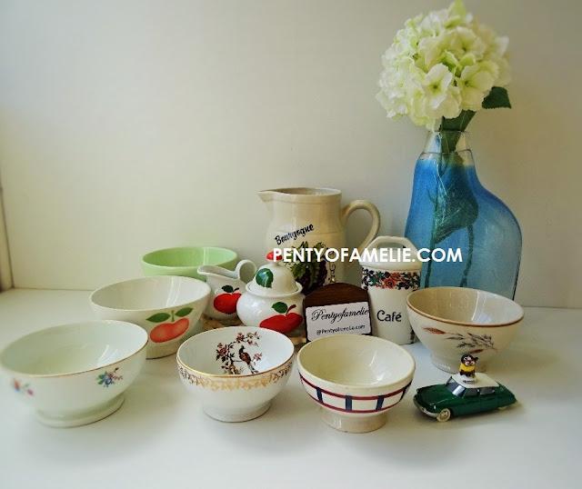 "French Antique Coffee Bowls by St Clement, Badonviller ""Basque"",  Digoin ""Burgundy"" Longchamp porcelain ..."