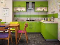 Desain Dapur Minimalis Warna Hijau