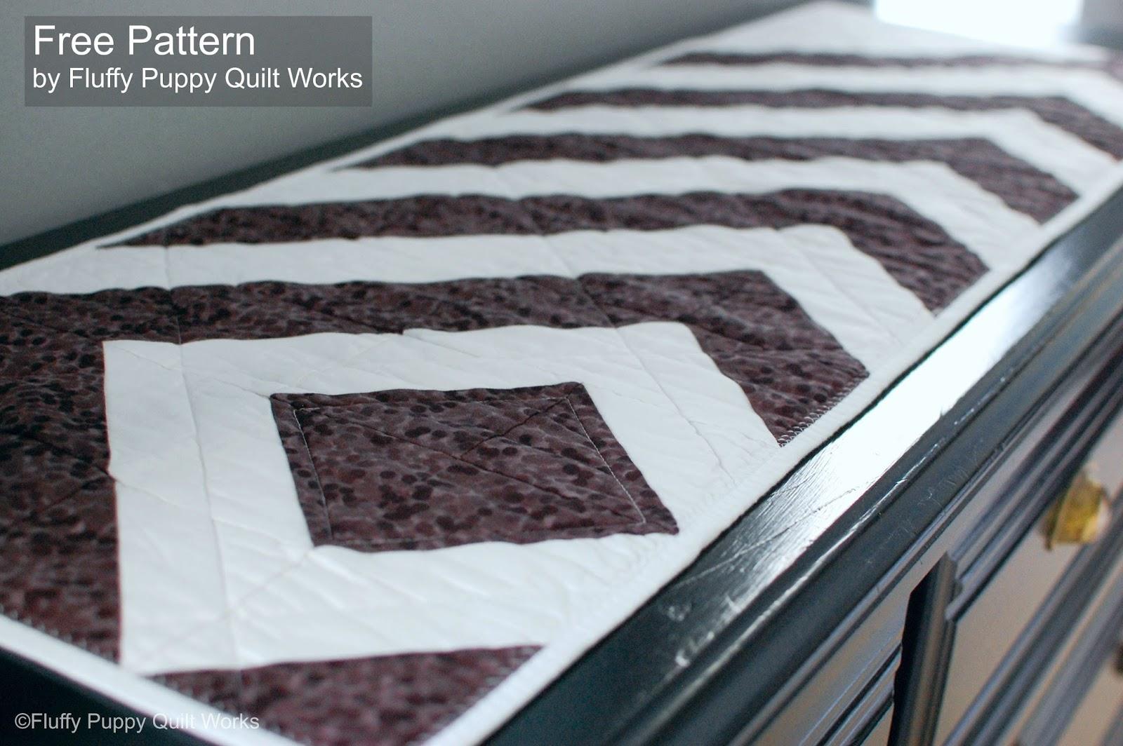 Fluffy Puppy Quilt Works: Free PDF Pattern: Modern HST Table Runner