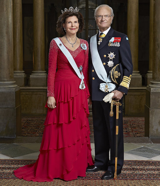 Queen Silvia weddings dress jeweler, diamond earrings fashion dress Silvia diamond tiara