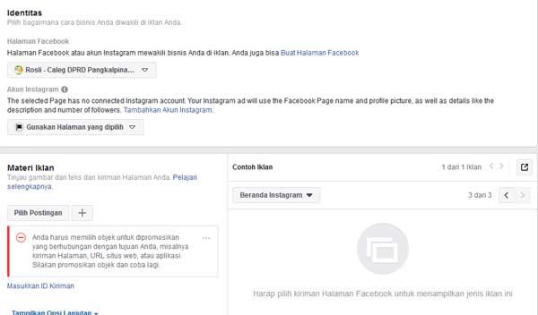 membuat iklan dengan menggunakan postingan halaman facebook