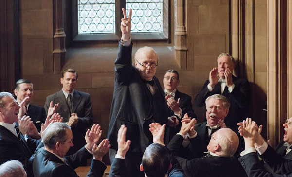 Gary Oldman and his Winston Churchill's famous V-sign in DARKEST HOUR (2017)