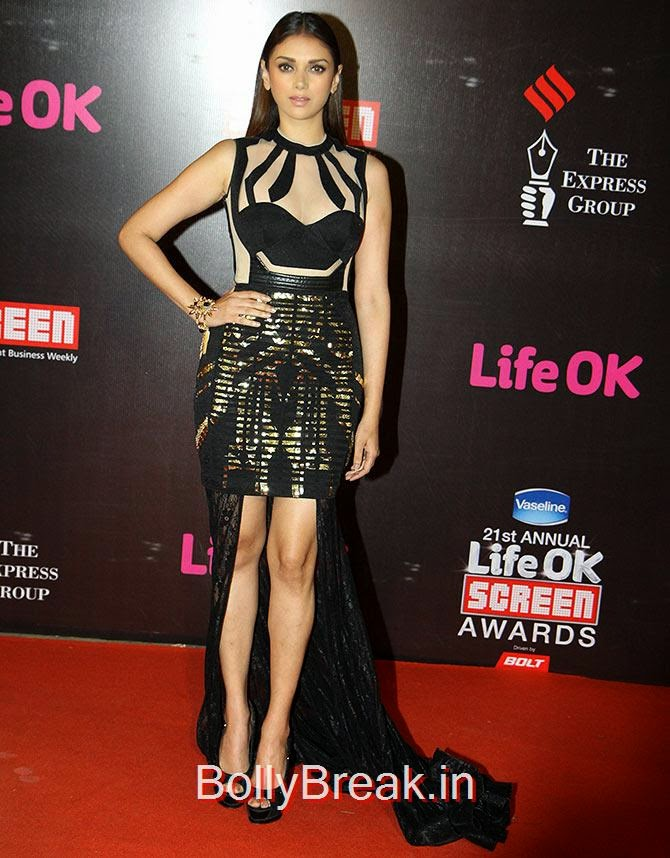 Aditi Rao Hydari, Life Ok Screen awards 2015 Red Carpet Hot Pics