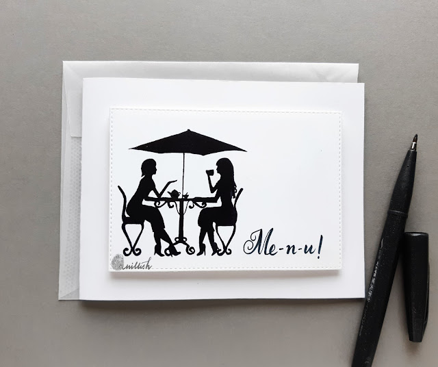 Altenew ladies day out stamp card, clean and simple card, Quillish, CASology, cards by Ishani
