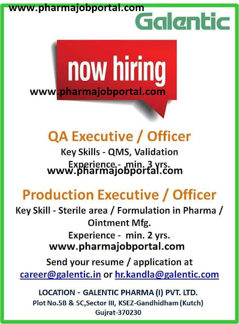 Galentic Pharma Pvt. Ltd Walk In Interview For Quality Assurance, Production