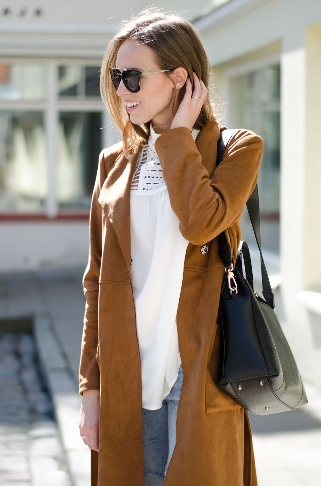 kristjaana mere suede coat white top spring outfit
