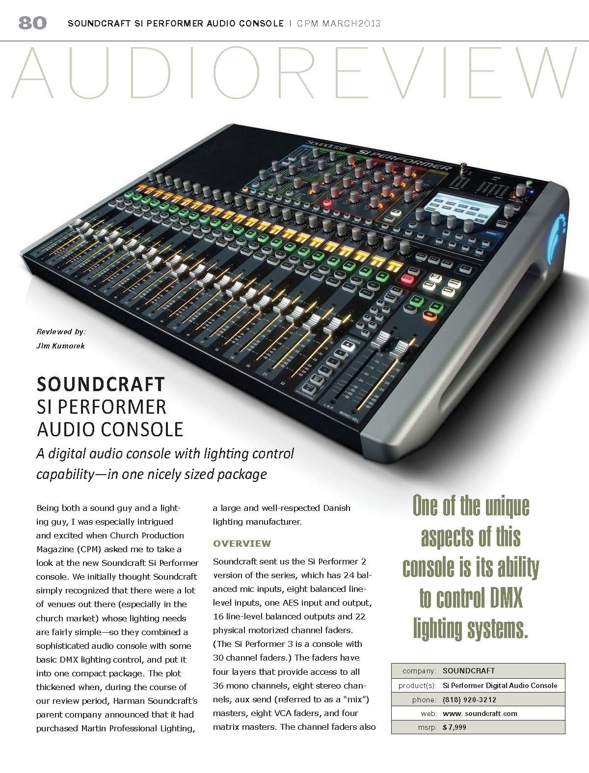 Harman Luxury Audio News: Pick Of The Hits - Soundcraft In Church Production Magazine, March 2013