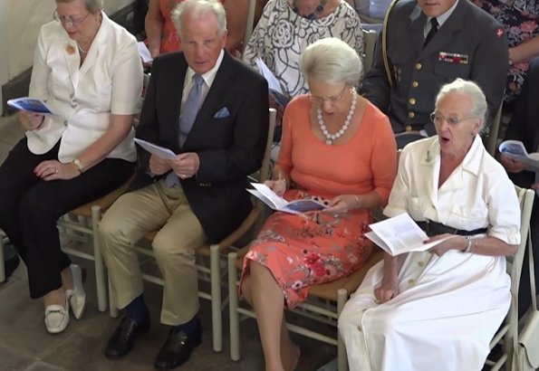 Queen Margrethe II and Princess Benedikte of Denmark attended a church service (festgudstjeneste) held at Grasten Palace Church