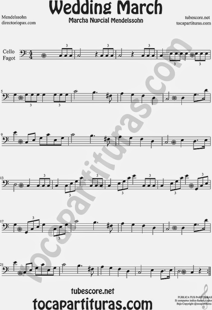 Marcha Nupcial Partitura de Violonchelo y Fagot Sheet Music for Cello and Bassoon Music Scores Wedding March by Mendelssohn