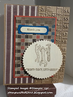 hand made thank you card using the Guy Greetings and Plane and Simple sets from Stampin' Up!