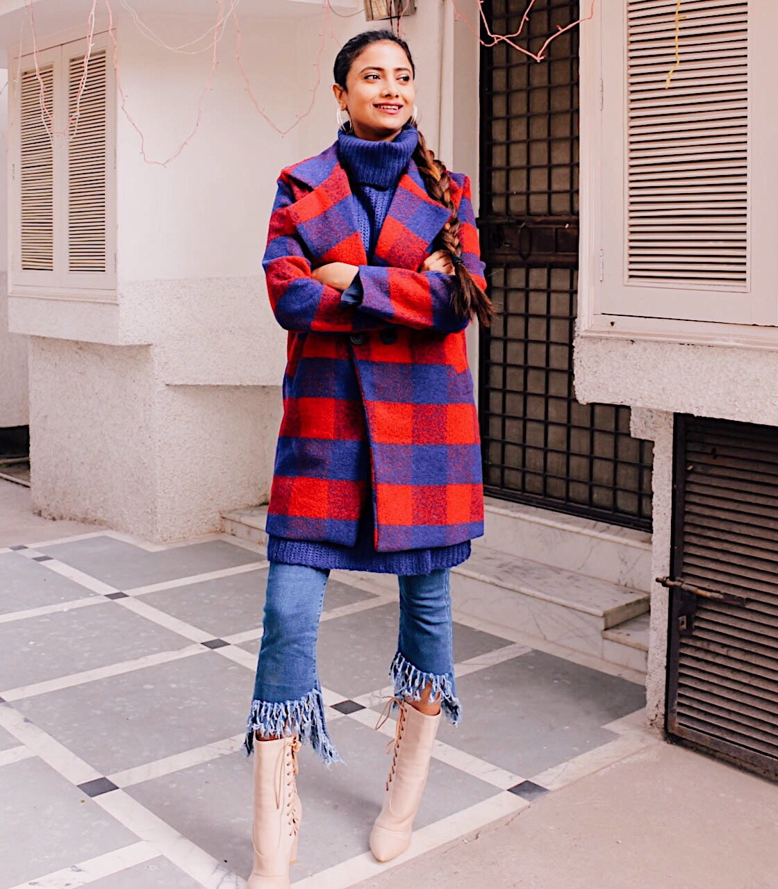 how to make a chic style statement in winter outfits, statement coat, statement outerwear, style  plaid, style check outerwear, fringed denim, blue denim, updated denim, style updated denim, refreshed denim, effortless chic, parisian look, parisian style, winter outfit inspiration, high neck knit, red and blue, nude shoes, 4thandreckless, lightinthebox, lightinthebox review, daily outfit inspiration, wear in winter, make a statement, style statement, 2017 top blogger outfit,  top winter outfit, what to wear in winter, 2017 on trend outfit, trending in 2017, winter trends 2017, step hem denim, fresh outfit idea, fresh in winter, top indian luxury blog, indian fashion blogger, indian style blog, uk blog, london blog, european style, london street style, 2017 london street style, london girl, london style