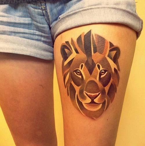 woman leg lion tattoo kadın bacak aslan dövmesi