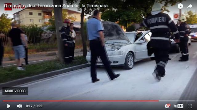 O masina a luat foc in zona Soarelui, la Timisoara