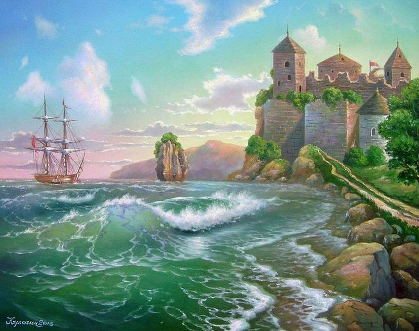 Imgenes Arte Pinturas Cataratas Marinas Con Barcos y