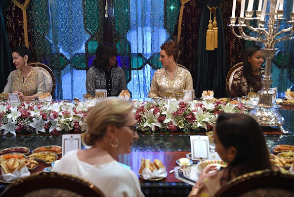Princess Lalla Salma,  Michelle Obama, Malia Obama and Sasha Obama, Princess Lalla Meryem attend a dinner at Royal Palace.