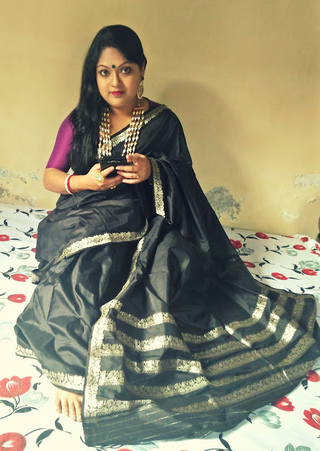 Black katan silk banarasi saree