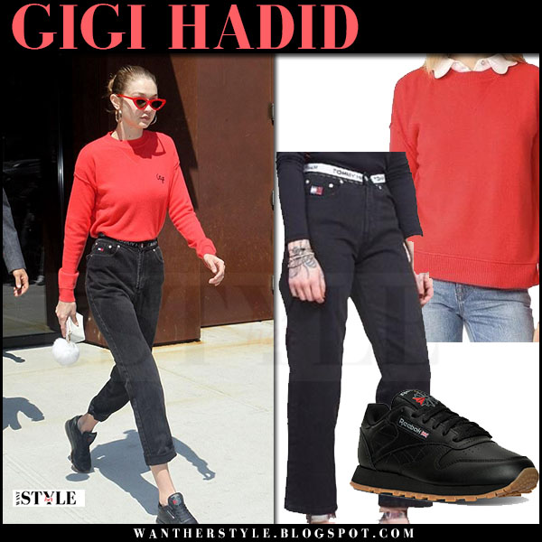 Gigi Hadid in red sweater, black jeans tommy hilfiger and black sneakers reebok what she wore may 31 2017