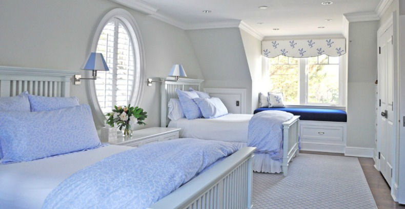 light blue and white coastal cottage guest bedroom