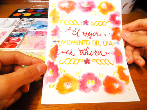 tarjeta lettering y acuarela