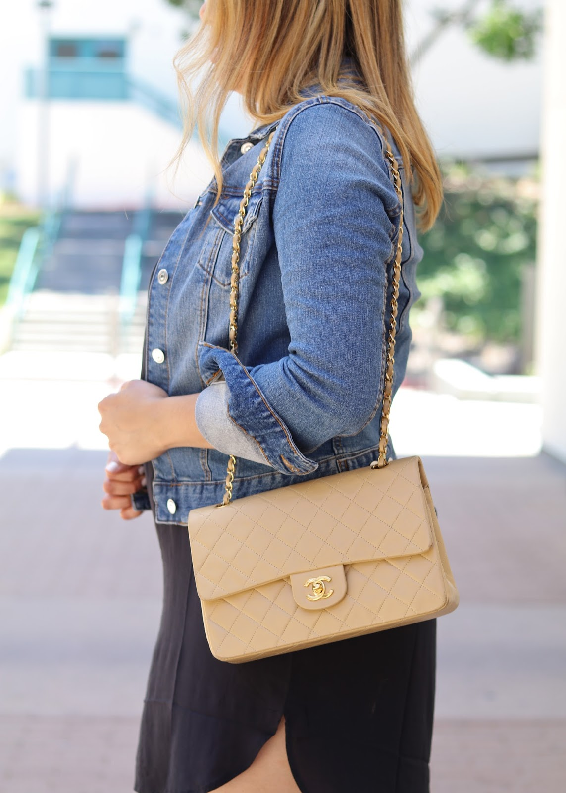 denim jacket outfit, how to wear a nude chanel bag, nude chanel flap bag, socal fashion blogger, san diego style blogger
