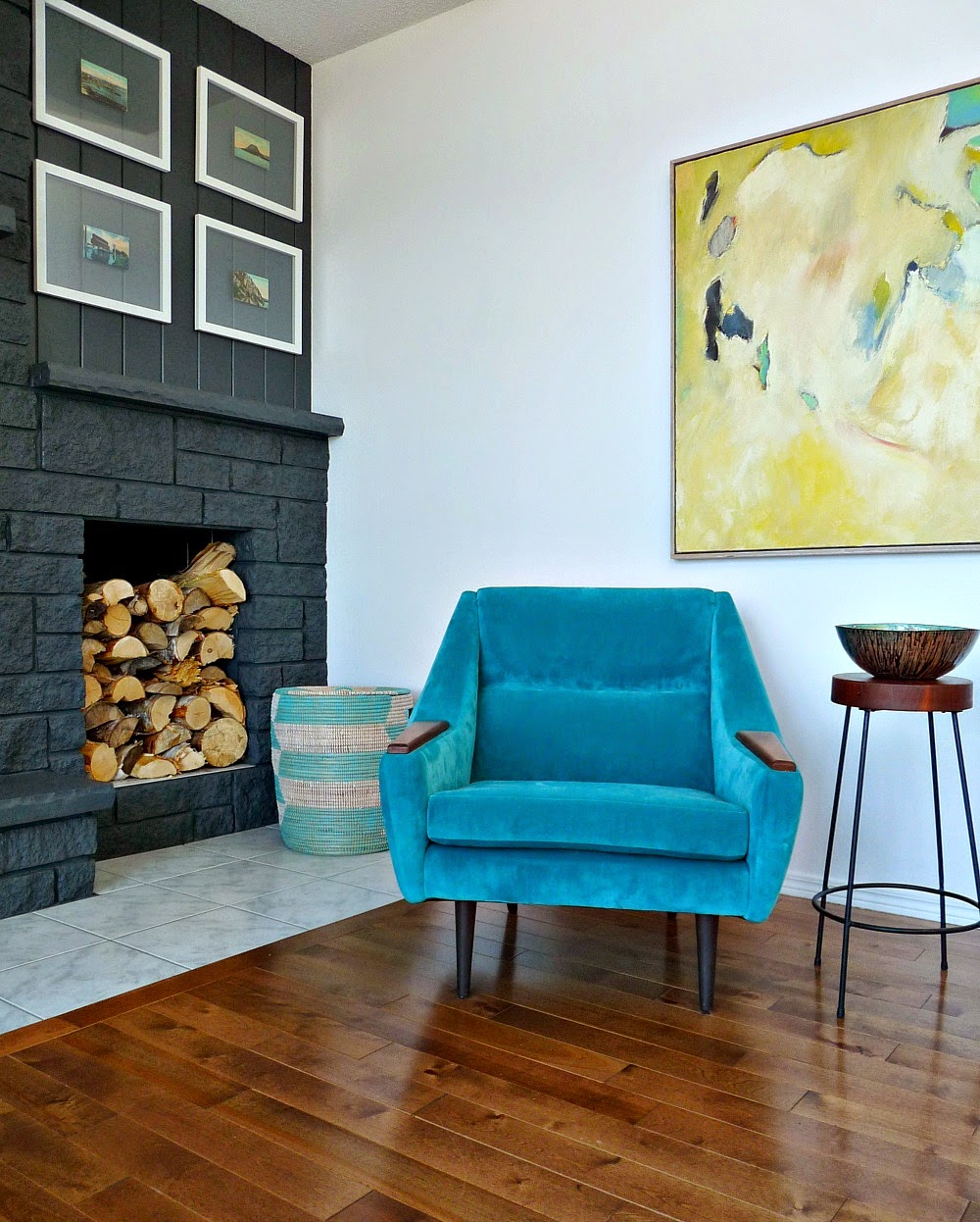 Dark Grey Fireplace with Aqua Accents