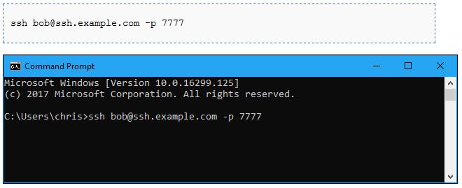 Connettersi a un server SSH in esecuzione sulla porta 22