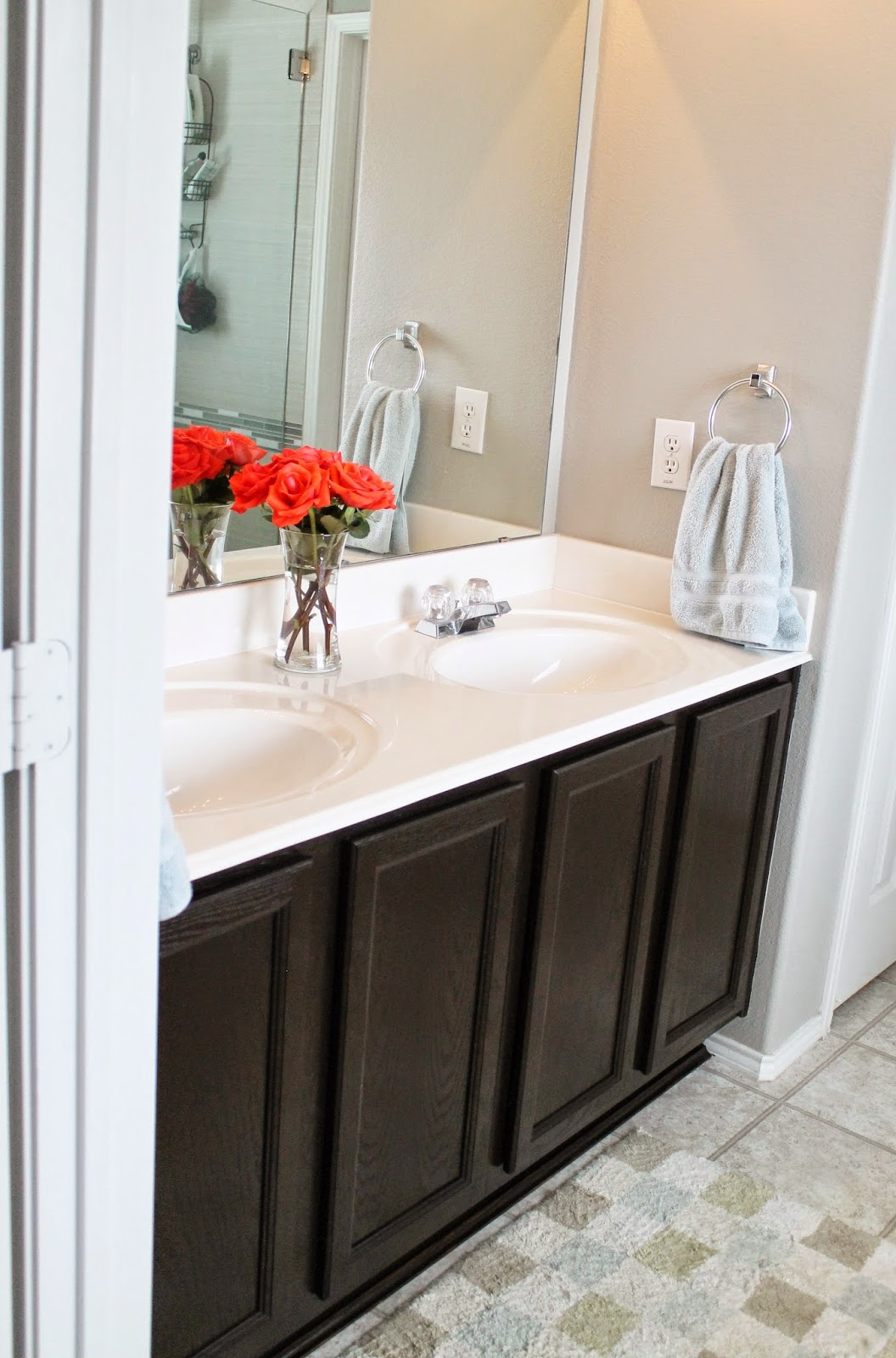 Tucker Up: DIY Stained Cabinets {Master Bathroom}