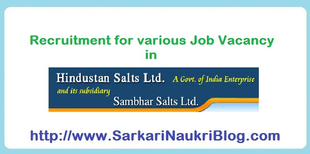 Naukri vacancy recruitment in Hindustan Salts Limited