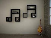 bibliotecas con formas de notas de musicales