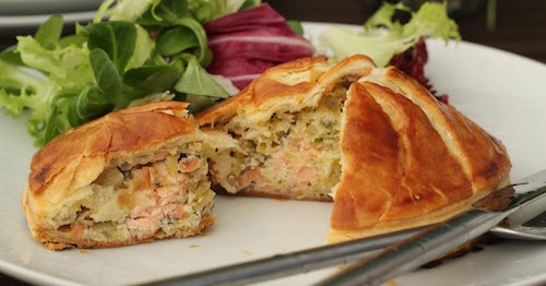 Fresh and Smoked Salmon & Leek Pithiviers – a posh word for pie!