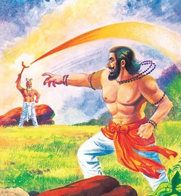 Fight between Sage Vashistha (Ari) and Sage Vishwamitra (Heron)