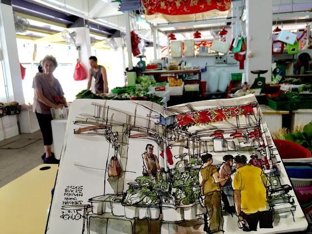 sketch of jalan bukit merah market