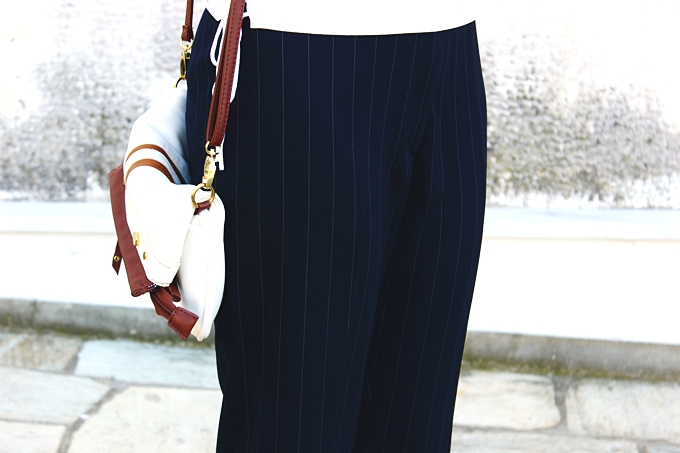 Wardrobe basics. Pinstripe dark blue cropped cigarette trousers with white stripes.Must-have pants.Best classic looks.