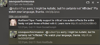 screenshot twitter conversation between @onequartermama.ca and @AutismTips