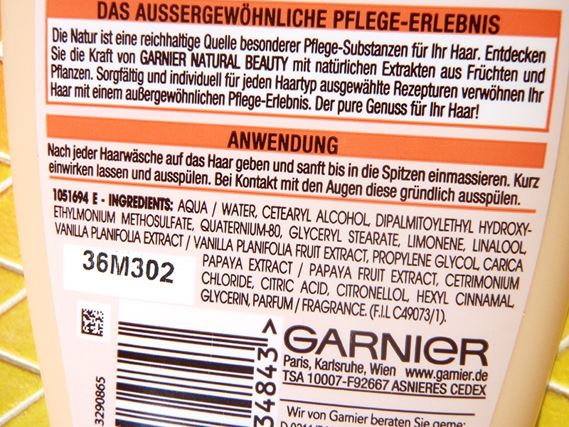 Garnier Wanilia i papaja, odżywka do włosów Garnier Papaja