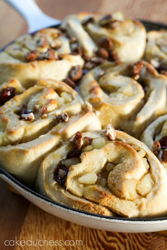 Pear Cranberry Sticky Buns