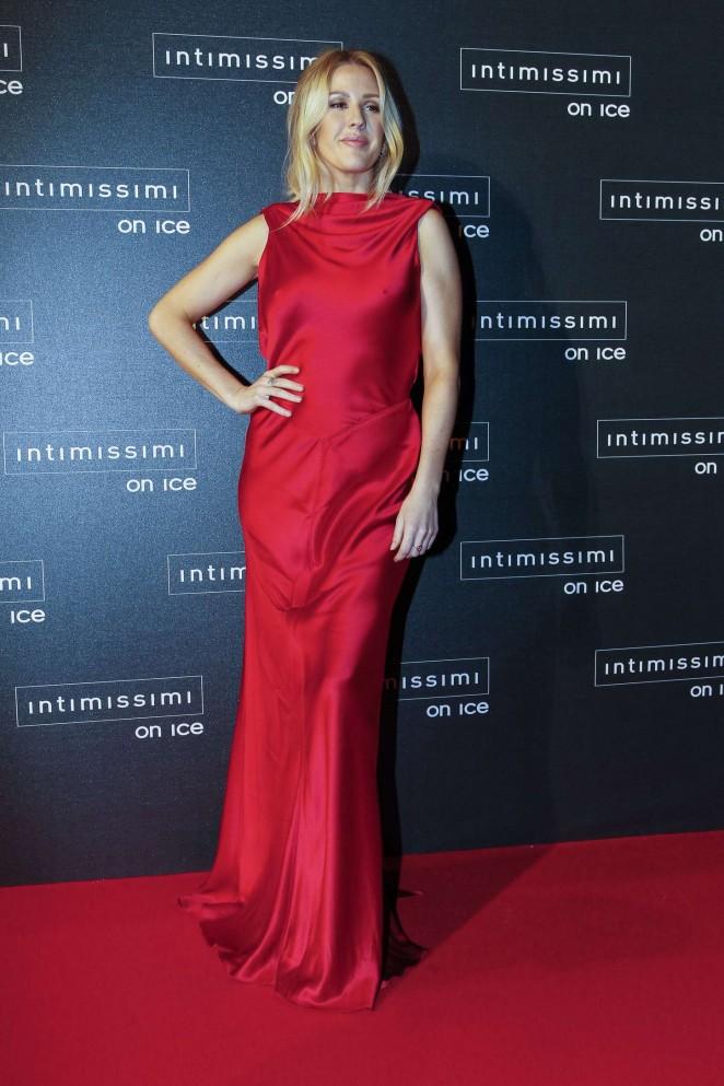 Singer Ellie Goulding Hot Stills In Red Dress