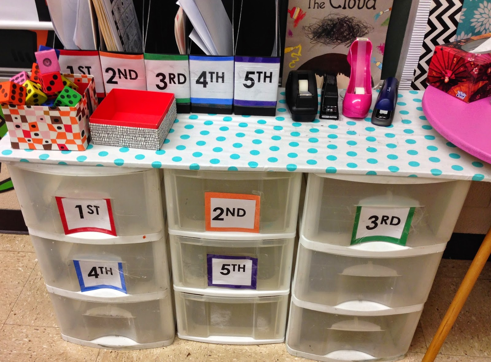 Organize lesson materials by grade and other  tips to save time in the art room on Expressive Monkey's Blog.