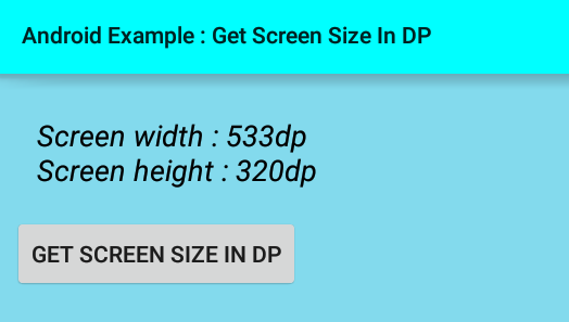 android - How to get screen width and height (size) in dp