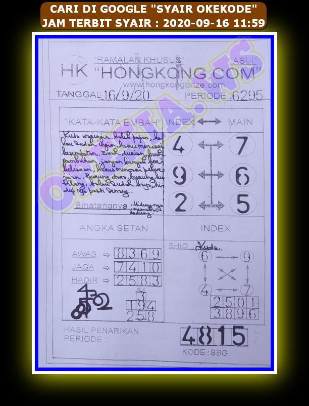Kode syair Hongkong Rabu 16 September 2020 81