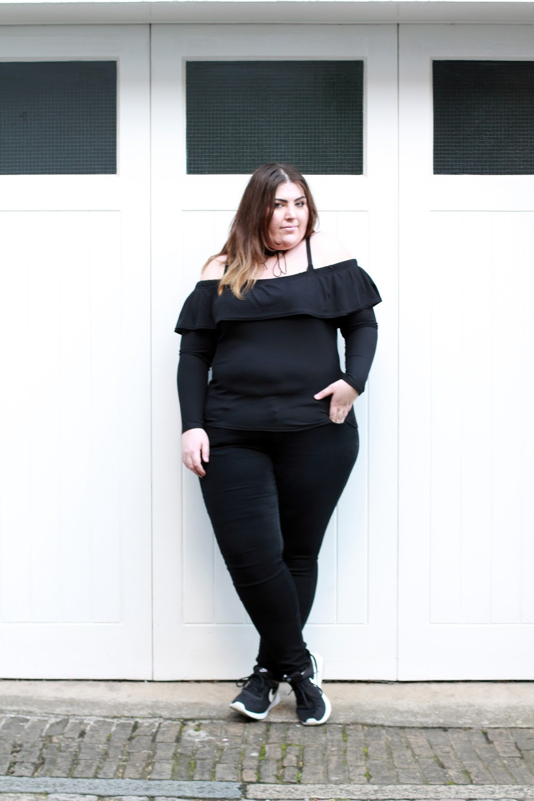 Plus Size Black Off The Shoulder Top With Ruffle - BooHoo