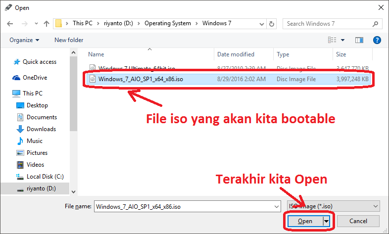 instal windows 7 dari flashdisk rufus