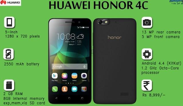 Harga HP Huawei Honor 4C Tahun Ini Lengkap Dengan Spesifikasi Kamera 13 MP Harga 1.7 Jutaan