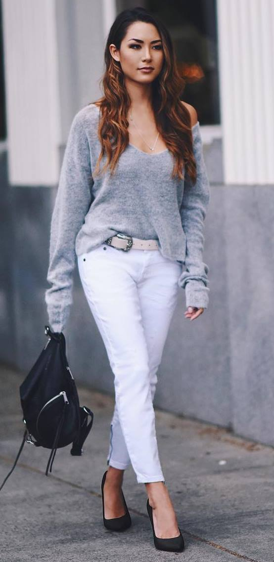 casual style addict: sweater + white pants + bag + heels