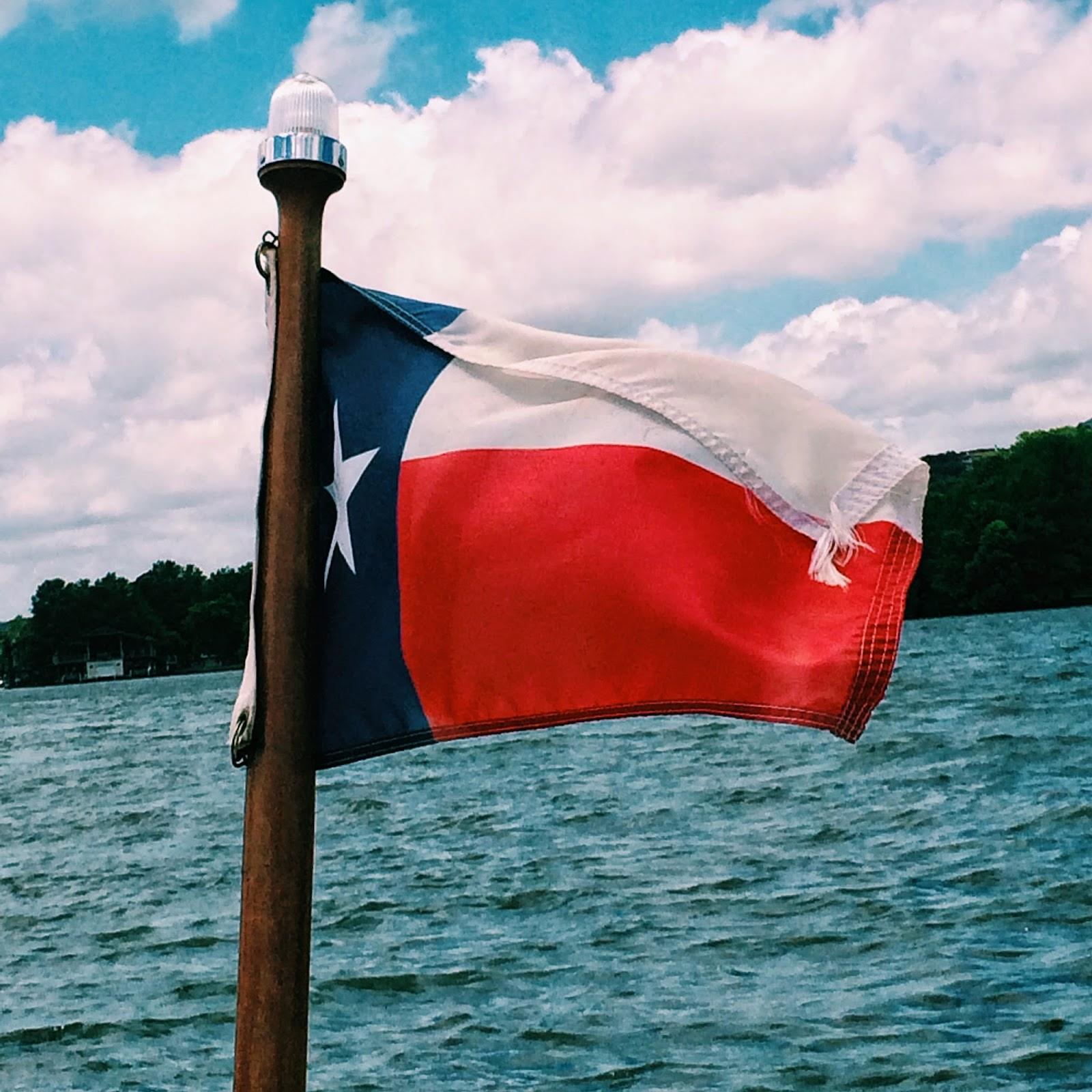 Lake Austin, Lake Austin Texas, Lake Austin Texas Flag, Texas Flag, Lone star Flag, Flag on a Boat. Austin TX, Austin Texas