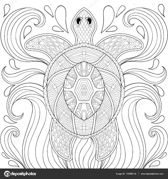 Zentangle Turtle In Waves Freehand Sketch For Adult Antistress Coloring  Pages Books Ornamental