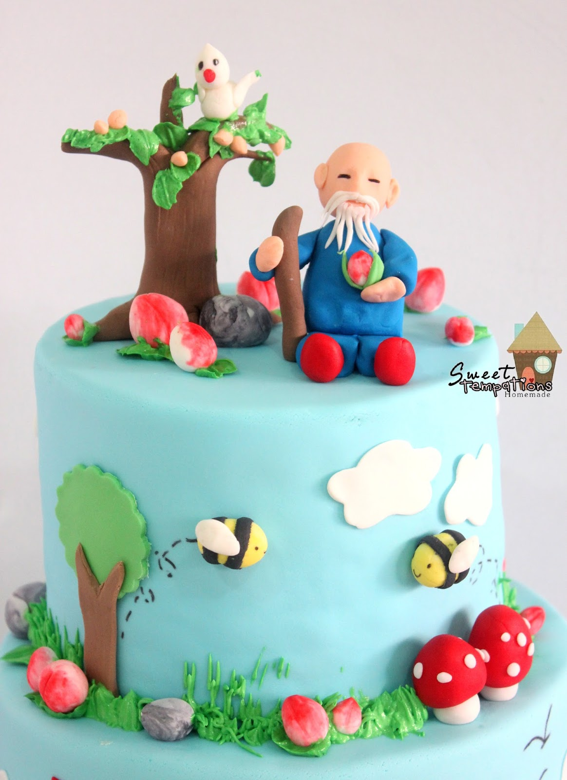 Old Man Sitting Under The Peach Tree This 2 Tier Cake Having Flavour On With Top In Banana Walnut And Orange Butter Bottom
